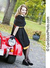 auto frau, schwarz, scheinwerfer, retro