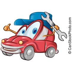 auto, garage, symbol, karikatur