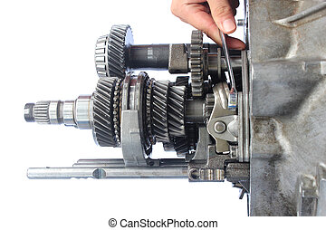 auto gearbox service on isolated background