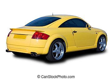 auto, gele, sporten