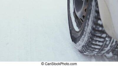 auto, geleider, door, een, winter, storm, met, sneeuw, op,...