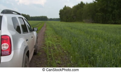 auto, geleider, in het platteland