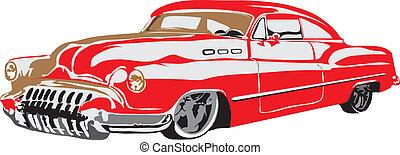 auto, gemaakt, eps, retro