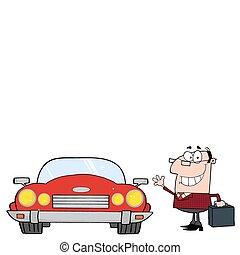 auto, geschäftsmann, umwandelbar