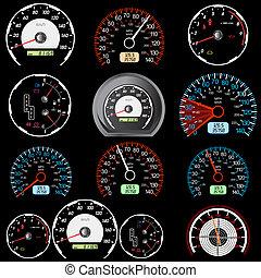 auto, geschwindigkeitsmesser, satz, rennsport, design.