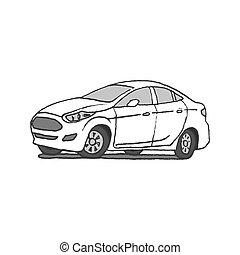 auto, gezeichnet, gekritzel, hand