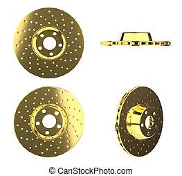 auto, goud, auto, schijven, onderdelen, sparen, achtergrond,...