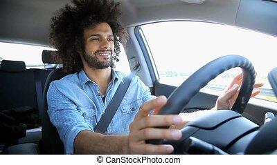 auto, hübsch, fahren, mann