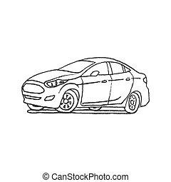 auto, hand, gezeichnet, grobdarstellung, karikatur, gekritzel