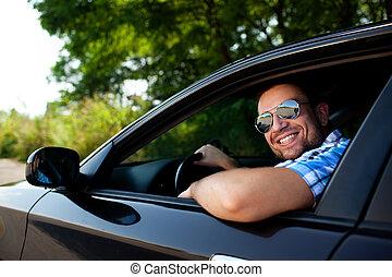 auto, het glimlachen, jonge man