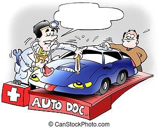 auto, het kijken, arts