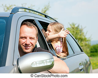 auto, het reizen, gezin
