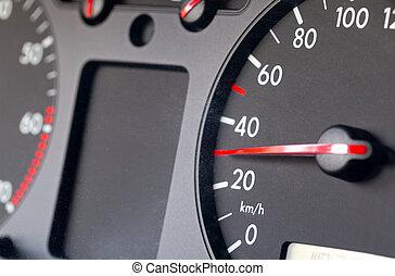 auto, het tonen, 30, snelheidsmeter