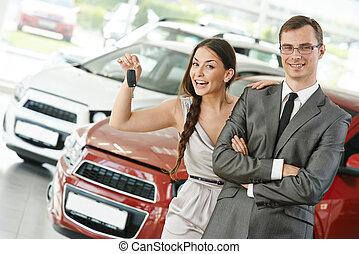 auto, het verkopen, of, auto, aankoop