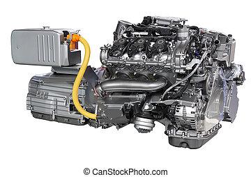auto, hybride, motor, vrijstaand, op wit