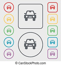 Auto icon sign. symbol on the Round and square buttons with frame. Vector