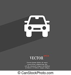 Auto icon symbol Flat modern web design with long shadow and space for your text. Vector