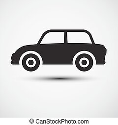 auto, icon., symbool., auto
