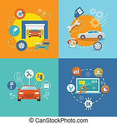 auto, icona, servizio, appartamento