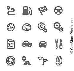 Auto icons - Simple set of auto related vector icons for ...