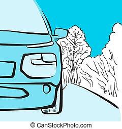 Auto im Winterauf glatter Straße, Illustration