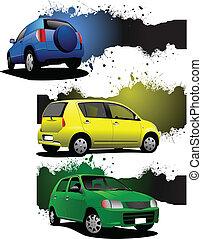 auto, imag, grunge, drei, banner
