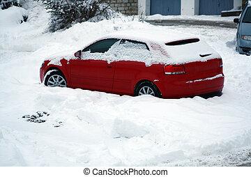 auto, in, schnee