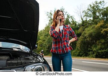 auto, indeling, vrachtwagen, roepende, straat, trekken, vrouw