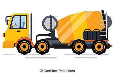 auto, ingegneria, vettore, macchina concreta, miscelatore