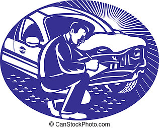 Illustration of insurance adjuster with clipboard taking notes on car collision set inside ellipse done in retro woodcut style.
