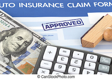 auto insurance claim form with stamp approved