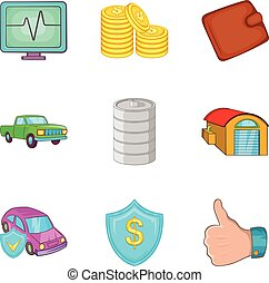 Auto insurance icons set, cartoon style