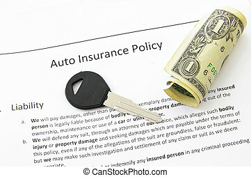 auto insurance policy and car key with money