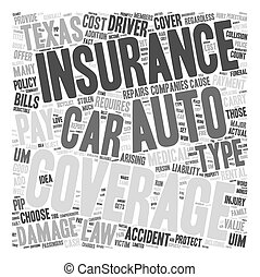 Auto Insurance Texas text background wordcloud concept