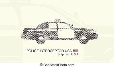 auto, interceptor, politie, illustratie