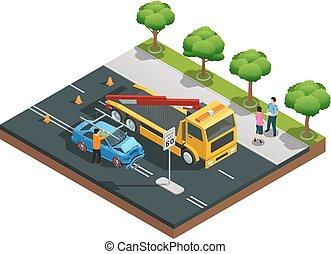 auto, isometric, ongeluk, samenstelling