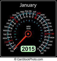 auto, january., vector., jaar, 2015, kalender, snelheidsmeter