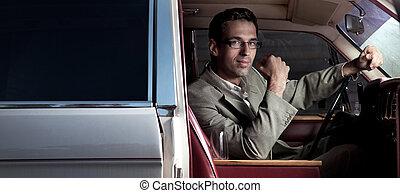 auto, junger mann