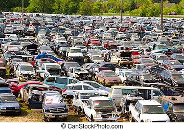 auto, junkyard, bergung, hof