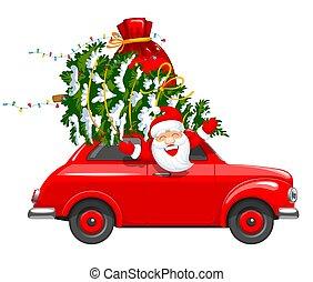 auto, karakter, kerstmis, kerstman