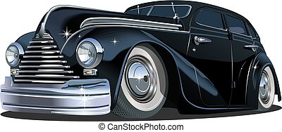 auto, karikatur, retro