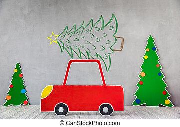 auto, karton, boompje, kerstmis