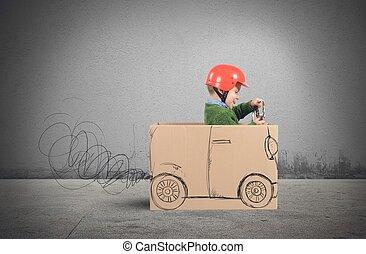 auto, karton