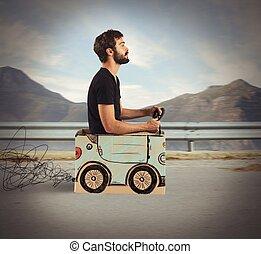 auto, karton, uitstapjes