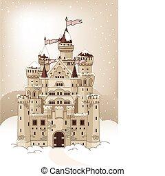 auto, kasteel, magisch, winter, uitnodiging