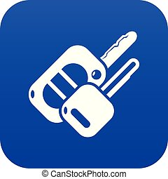 Auto key icon blue vector isolated on white background