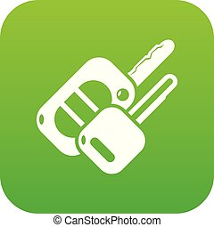Auto key icon green vector isolated on white background