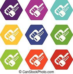 Auto key icons set 9 vector - Auto key icons 9 set coloful...