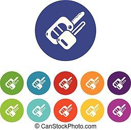 Auto key icons set vector color - Auto key icons color set...