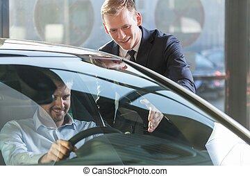 auto, klant, handelaar